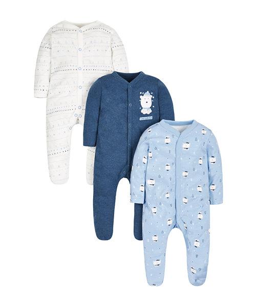 Polar Bear Sleepsuits - 3 Pack
