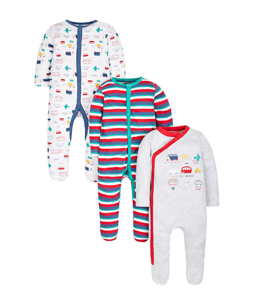 Transport Sleepsuits - 3 Pack