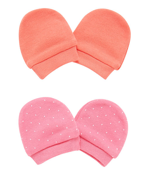 Pink and Peach Mittens - 2 Pack