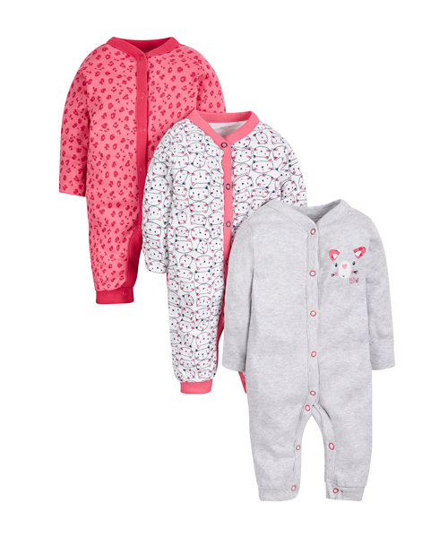 Footless Cat Sleepsuits - 3 Pack