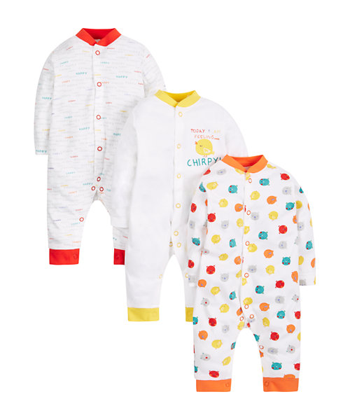 Footless Chirpy Sleepsuits - 3 Pack