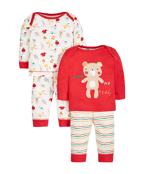 Teddy Pyjamas - 2 Pack