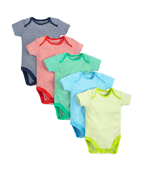 Stripy Bodysuits - 5 Pack