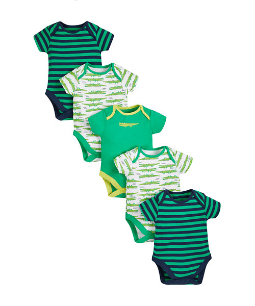 Crocodile Bodysuits - 5 Pack