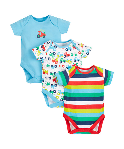 Tractor Bodysuits - 3 Pack