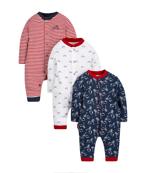 Bicycle Footless Sleepsuits - 3 Pack