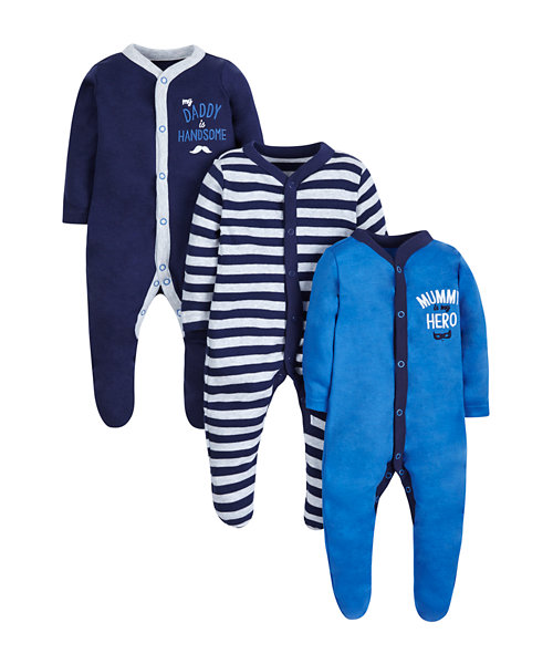 Mummy and Daddy Sleepsuits -3 Pack