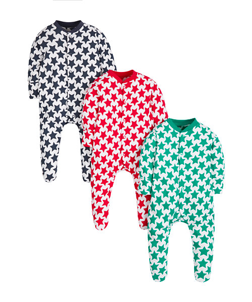 Star Sleepsuits - 3 Pack