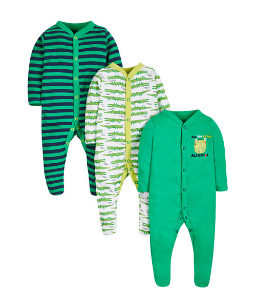 Alligator Sleepsuits - 3 Pack