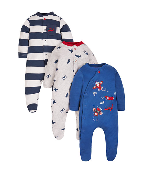 Up, Up and Away Sleepsuits - 3 Pack