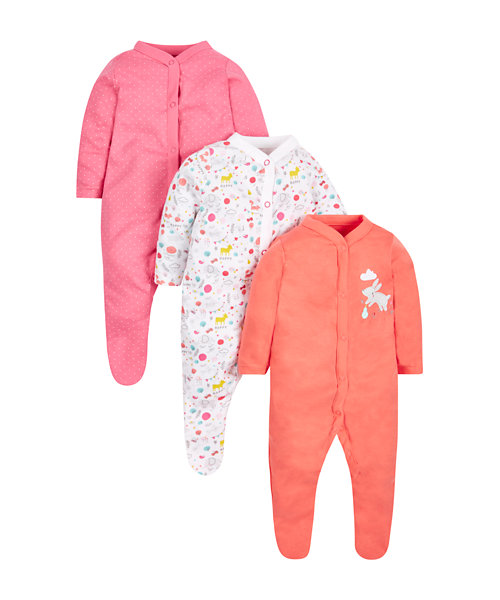 Woodland Sleepsuits - 3 Pack