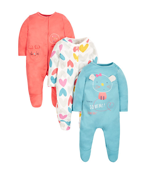 Little Mouse Sleepsuits - 3 Pack
