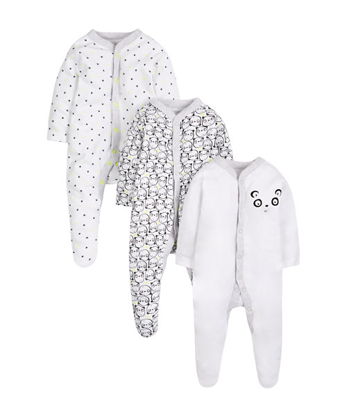 Panda Sleepsuits - 3 Pack