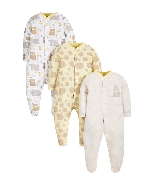 Giraffe Sleepsuits - 3 Pack