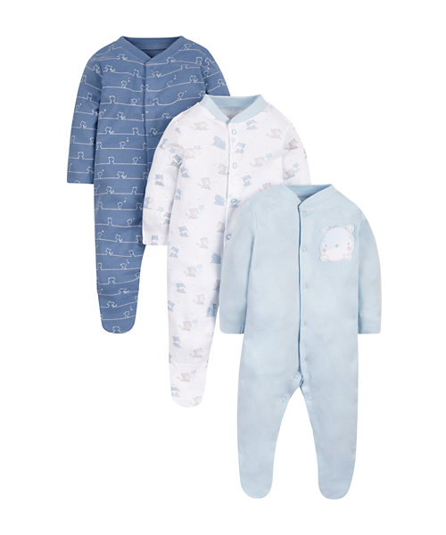My First Little Bear Sleepsuits - 3 Pack