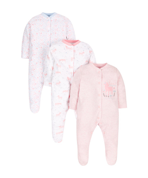 Little Dear Sleepsuits - 3 Pack