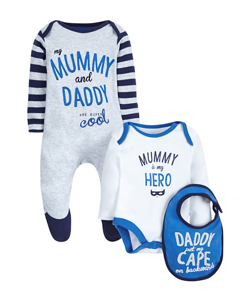 Mummy and Daddy 3 Piece Set - Blue