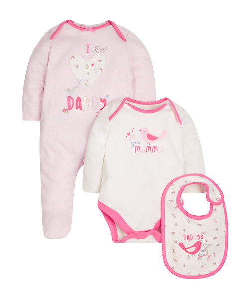 Mum and Dad Three Piece Set - Pink