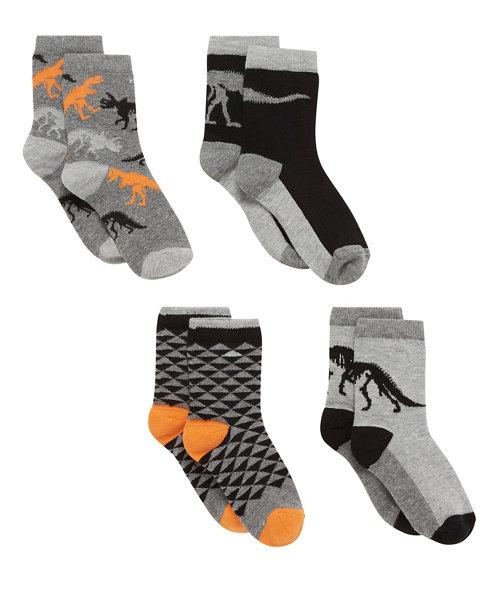 Skeleton Dinosaur Socks - 4 Pack