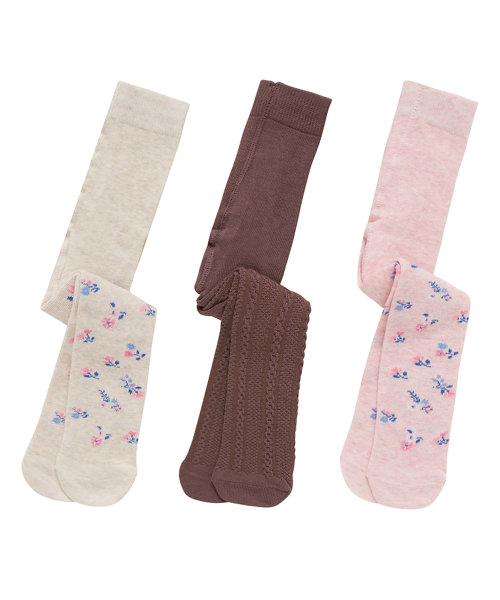 Floral and Cable Knit Tights - 3 Pack
