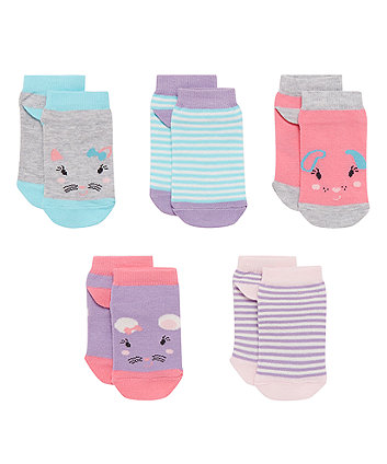 Stripe and Animal Socks - 5 Pack