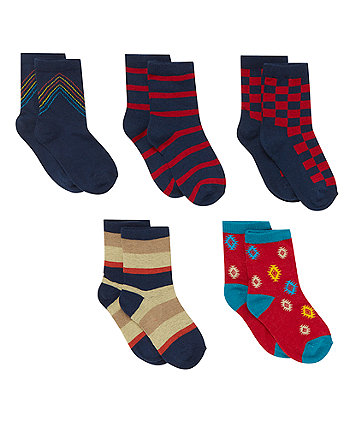 Stripe and Pattern Socks - 5 Pack