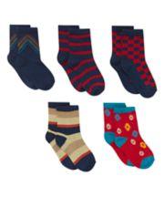 Stripe and Pattern Socks - 5 Pack