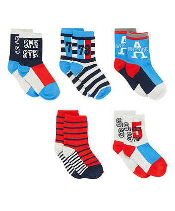 Stripe and Slogan Socks - 5 Pack