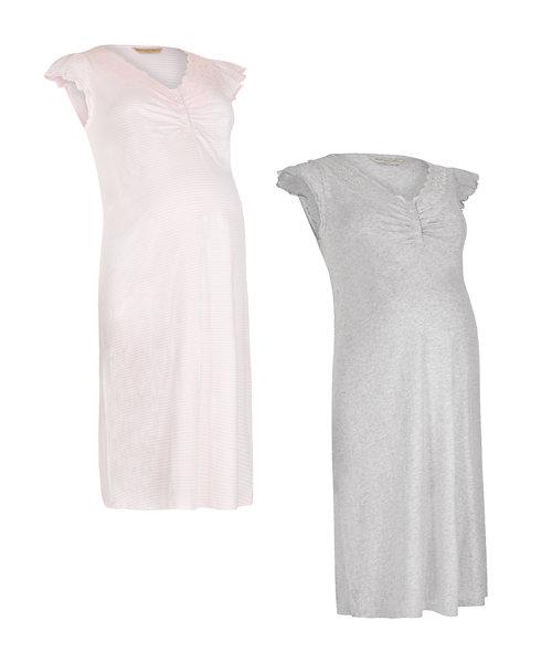 Pink Stripe and Grey Nursing Nightdresses - 2 Pack