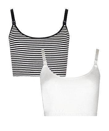 White and Striped Nursing Sleep Bras - 2 Pack