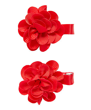 Red Corsage Croc Clips - 2 Pack