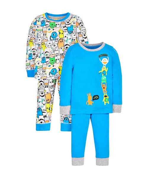 Little Monster Pyjamas - 2 Pack