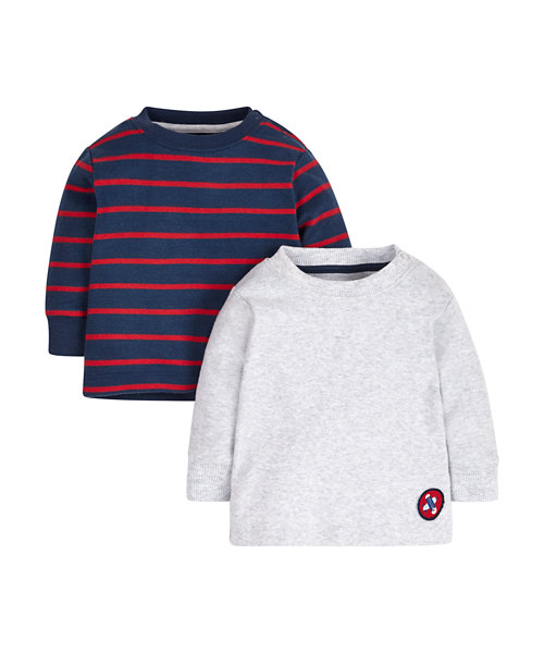 Plain and Stripe Tops - 2 Pack