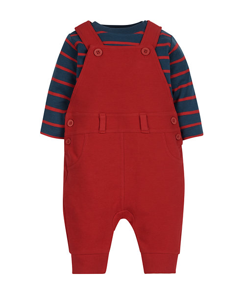 Red Dungarees and Bodysuit Set