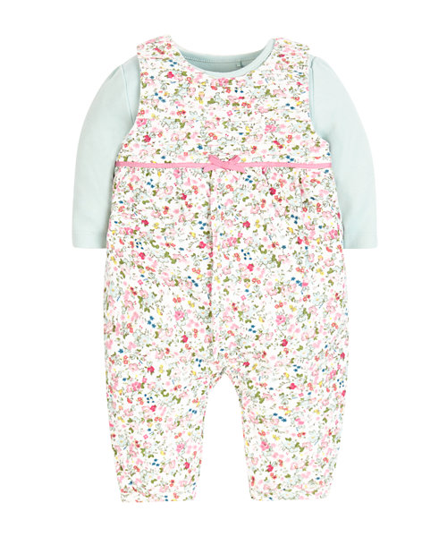 Bodysuit and Baby Cord Floral Dungarees