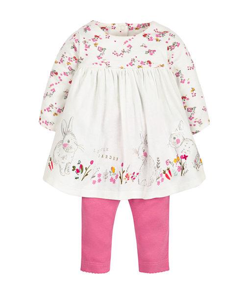 Floral Border Dress and Leggings Set