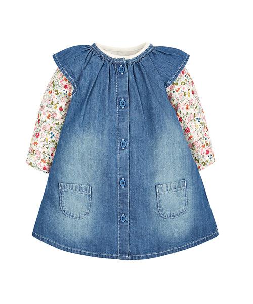 Floral Bodysuit and Denim Pinny Set