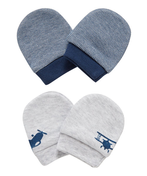 Stripe and Aeroplane Mittens - 2 Pack
