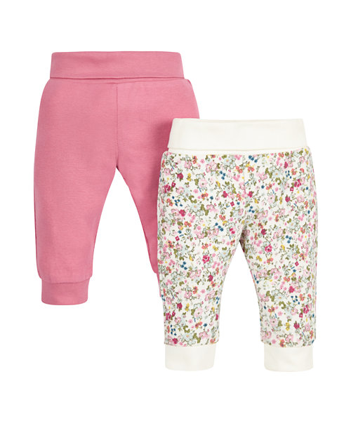 Leggings plain pink and floral prints for Girl 2 per pack
