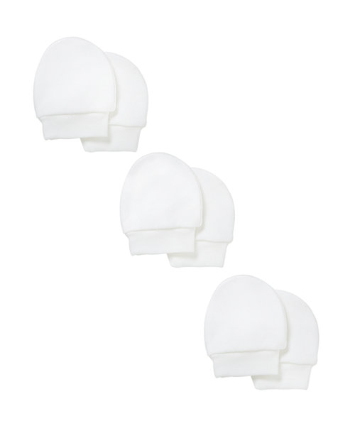 My First Scratch Mitts- 3 Pack White