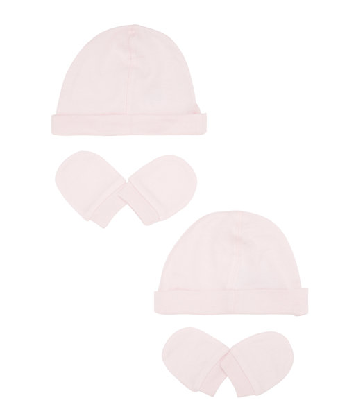 My First Hat and Mitts Set- Pink