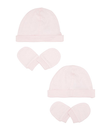 Mothercare My First Hat And Mitts Set- Pink