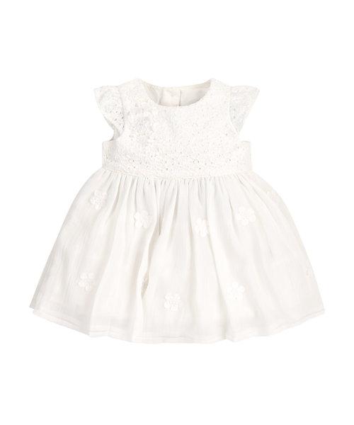 Cream Flower Corsage Dress