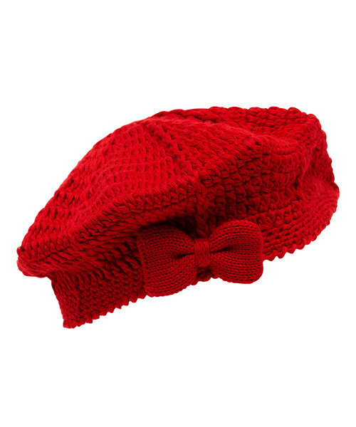Red Knitted Beret - Up to 3 mos. size Up to 3 mnths - 14.5lbs