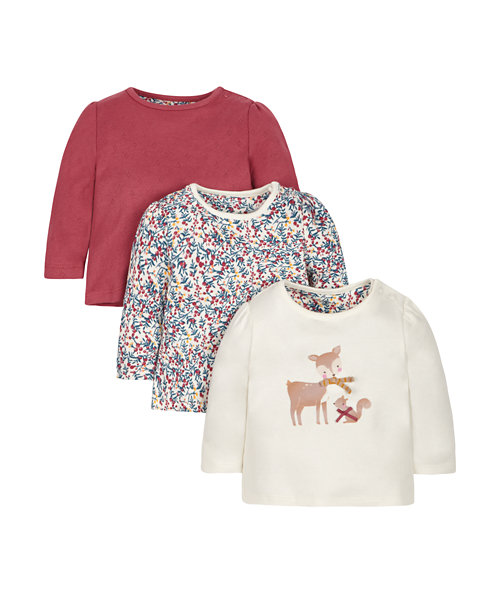 Deer, Floral and Pointelle T-Shirts - 3 Pack