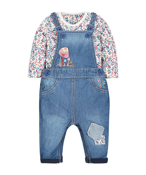 Dungaree and Floral Bodysuit Set
