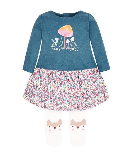 Pretty Forest Dress and Tights Set