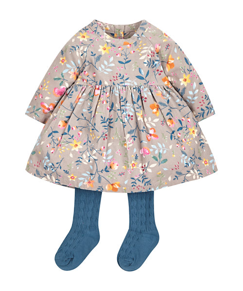 Cord Floral Dress with Tights