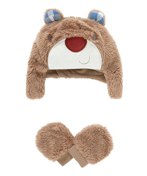 Bear Trapper Hat and Mitts Set