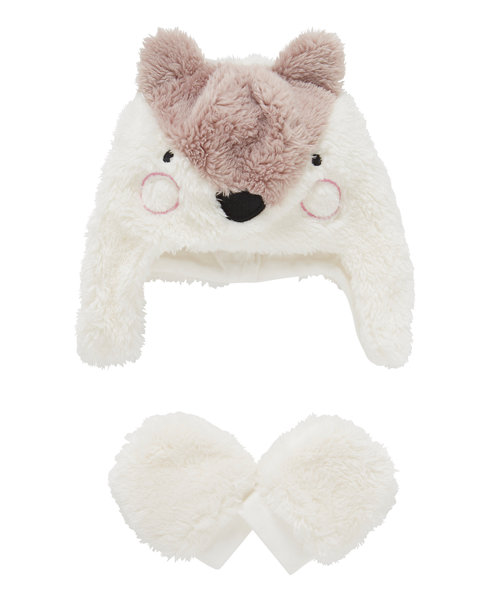 Fluffy Fleece Fox Trapper Hat and Mitts